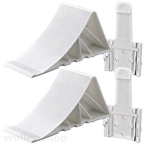 Unterlegkeil Bremskeil mit Halterung Kunststoff Weiß, Keil für Anhänger, Trailer (Trailer Keil)
