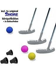 Mini Golf Set Family–9piezas (con 3x Original Shore Mini pelota de golf equipo de fútbol) y 3x Mini Golf de Pick-up