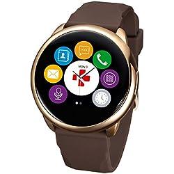 MyKronoz ZeRound - Reloj inteligente/pulsera de fitness, unisex, Smartwatch Fitnesstracker ZeRound, rotgold-Braun (KRZEROUND-PINK-GOLDBROWN)