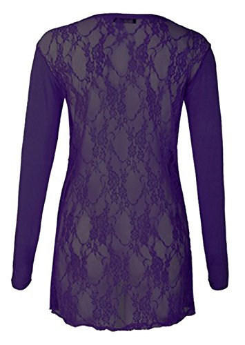 Friendz Trendz -Women's Full Lace Back Langarm Open Boyfriend Strickjacke Purple
