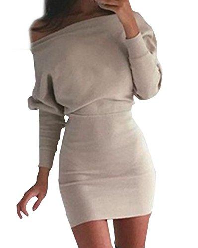 Damen Fashion Schräg Shoulder Slim Wickelkleider Normallacks Lange-ärmel Blusenkleider Schrittkleid Reizvolle Schulterfrei Tunikakleid Bleistiftkleid Festkleid Cocktailkleid Abendkleider (Billig Kleider Sexy Size Plus)