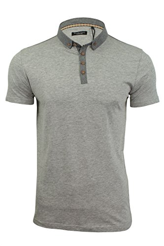 Herren Polo Shirt BRAVE SOUL Chimera Baumwolle Chambray Kragen Kurzarm T-Shirt Chimera - Lt Grey/Coal