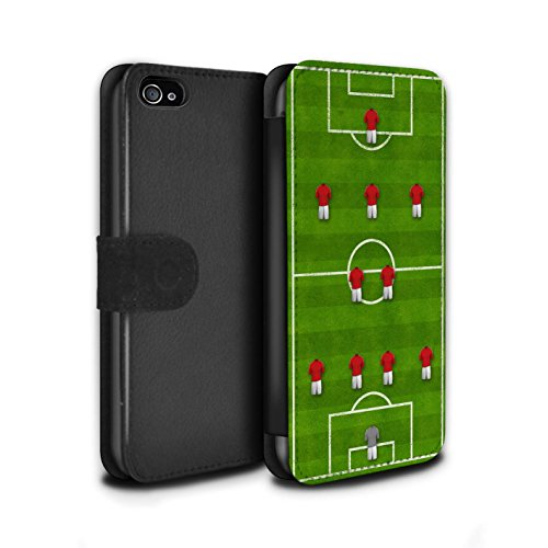 Stuff4 Coque/Etui/Housse Cuir PU Case/Cover pour Apple iPhone 4/4S / Pack 9pcs Design / Formation Football Collection 4-2-3-1/Rouge