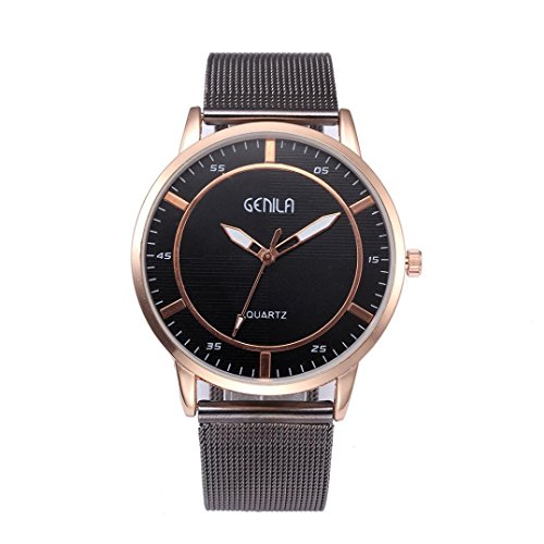 EARS Men Fashion Classic Business Gold Quartz Stainless Steel wristwatch Gold Watch fashion watch Jewelry Watches Christmas Gift Men's Analogue Quartz Watch Mesh Luxury Brand (Gold)