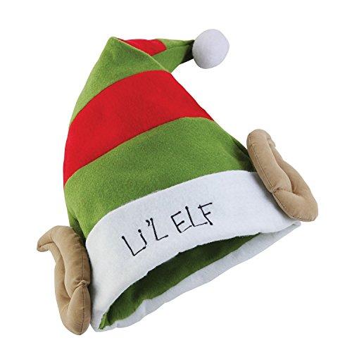Christmas Shop Elfen-Mütze / Weihnachtsmütze mit Elfen-Ohren, Aufschrift Lil Elf (Einheitsgröße) (Ohren Mütze Mit Elf)