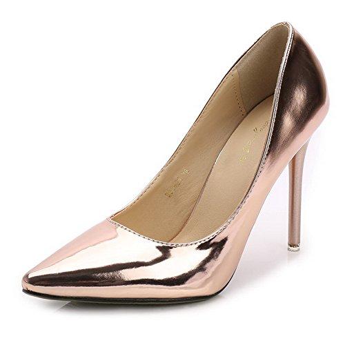 AalarDom Damen Stiletto Ziehen Auf Spitz Zehe Weiches Material Pumps Schuhe  Golden-Pu Leder