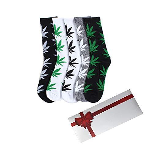 TTD 5 conFezioni unisex Weed foglia cotone stampato calzini acero stampato calzini con contenitore...
