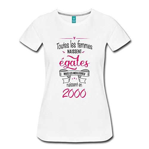 Spreadshirt Anniversaire Les Meilleures Naissent en 2000 T-Shirt Premium Femme, S, Blanc