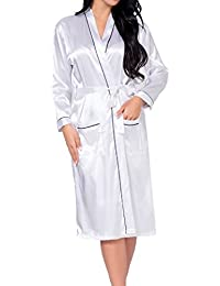 Hibote Mujer Silk Rayon Robe Sexy Ropa Interior Larga Ropa de Dormir Kimono camisón Tallas Grandes