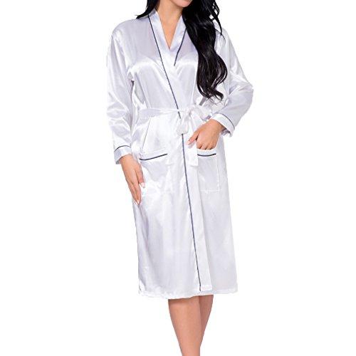 Hibote Damen Seide Rayon Robe Sexy Lange Dessous Nachtwäsche Kimono Nachthemd Plus Size Nachthemd Weiß ()