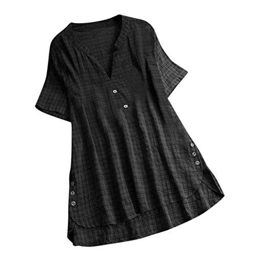 QingJiu Damen T-Shirt Mode Frauen Kurzarm Kaftan Baggy Button Baumwolle Leinen LäSsige Tunika Bluse (3XL(EU 46), X-Schwarz)