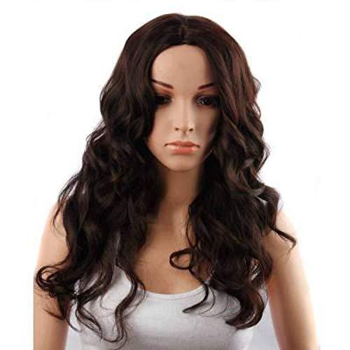 Perücke, Damenmode Glamour High Quality hitzebeständige natürliche Cosplay Kostüm Halloween Party Hochtemperaturdraht langes lockiges Haar braune Länge: 65 cm