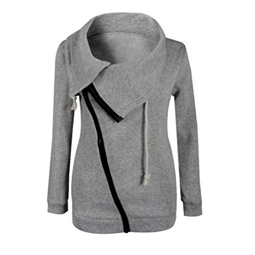 Ouneed® Femmes d'hiver Zipper Blouse Hoodie Sweat à capuche Manteau Veste Pull Gris