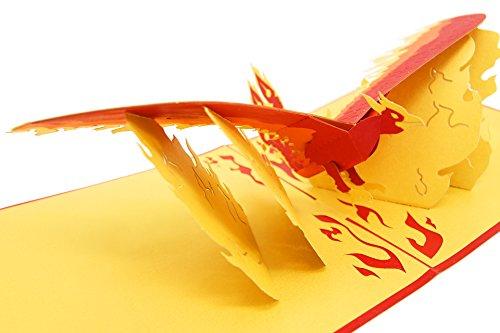 PopLife Cards Steigende Phoenix magische Popup Väter Tag Karte für alle Gelegenheiten Abschluss, alles Gute zum Geburtstag, Get Well, Sympathie, danke Fawkes, Fabelwesen, Neuanfang Falten flach für M (Die Für Sympathie-karten Danke)