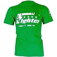 4Fighter T-shirt de color sólido verde con logo blanco de impresión used look Talla XS-XXXL, Talla:XXXL