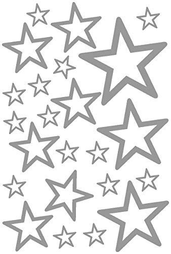Runde Front 14 (Samunshi® Sterne Aufkleber Set Outline runde Ecken 14x2,5cm6x5cm2x7,5cm1x10cm grau)