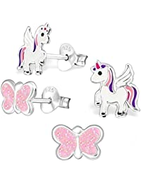 Goldene Hufeisen 2 Pairs Children's Unicorn and Glittery Butterfly Earring Set /  925 Sterling Silver