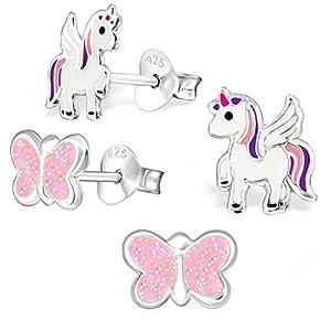 2 Paar Einhorn + Glitzer Schmetterling Set Ohrstecker 925 Echt Silber Mädchen Kinder Ohrringe