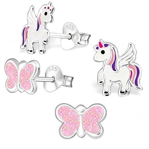 GH1a 2 PAAR Einhorn + Glitzer Schmetterling SET Ohrstecker 925 Echt Silber Mädchen Kinder Ohrringe Rosa, Lila, Weiß