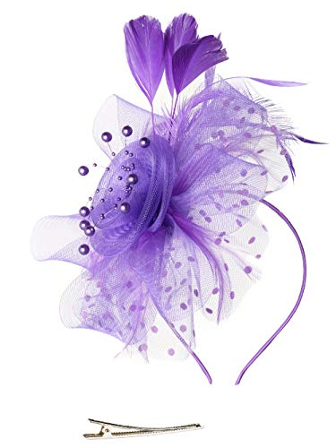 Feibao Fascinators Hut Damen Tea Party Stirnband Hochzeit Cocktail Blume Haarspange Derby Headwear (Hüte Halloween Stirnband)