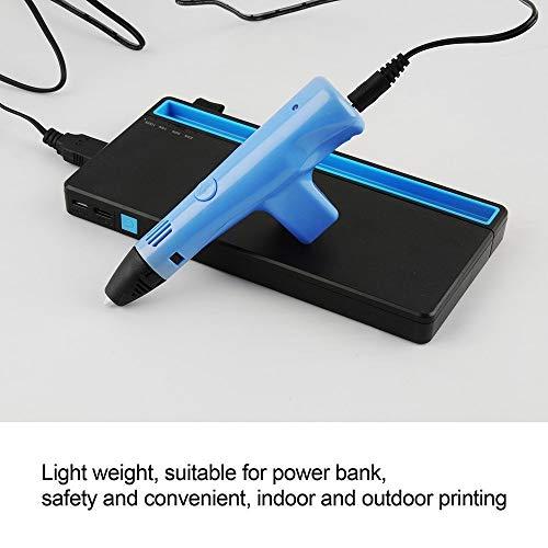 Ophysprint Penna Stampa 3D, Intelligente Penna Disegno 3D con 3 Colori 30 Metri Filamenti 3D Silicone Porta Penna a Mantieni Bambini Lontano Dall'alta Temperatura Elevata (Blu)