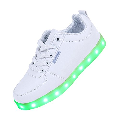 Shinmax LED Schuhe, 7 Farbe USB Aufladen LED Leuchtend Sport Schuhe Sportschuhe LED Sneaker Turnschuhe für Unisex-Erwachsene Herren Damen mit CE-Zertifikat , 40 EU, Weiß