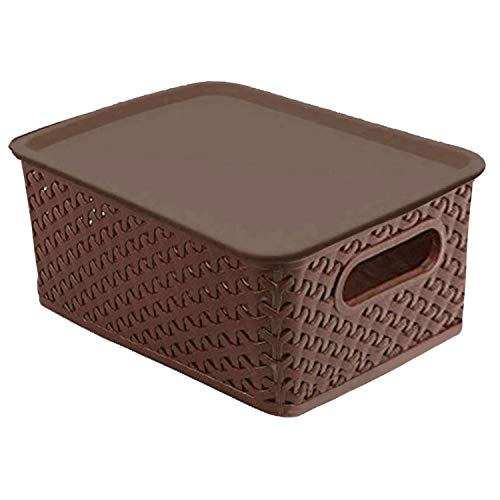 Kuber Industries Plastic Big Size Multipurpose Solitaire Storage Basket with Lid (Multi) -CTLTC10902