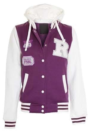 Fantasia New Ladies R Varsity Baseball Bomber hooded hoodie Womens Jacket Top S M L XL [Purple,M / L (12-14)]
