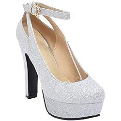 RAZAMAZA Mujer Zapatos Moda de Tacon Alto de Vestir con Plataforma Silver Size 38 Asian