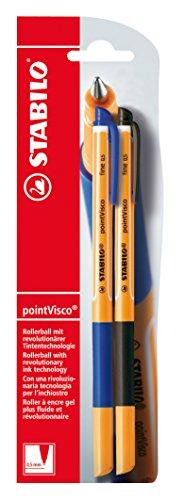 Tintenroller mit Antischmierformel - STABILO point Visco - 2er Pack - blau, schwarz