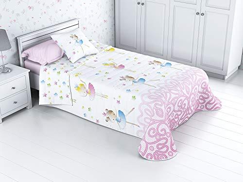 Cabetex Home - Bouti Kinder-Tagesdecke, wendbar, 100% Baumwolle, mit Kissenbezug und Baumwoll-Touch Mod. Ballerina cama de 90 cm (180x270 cm) Rosa