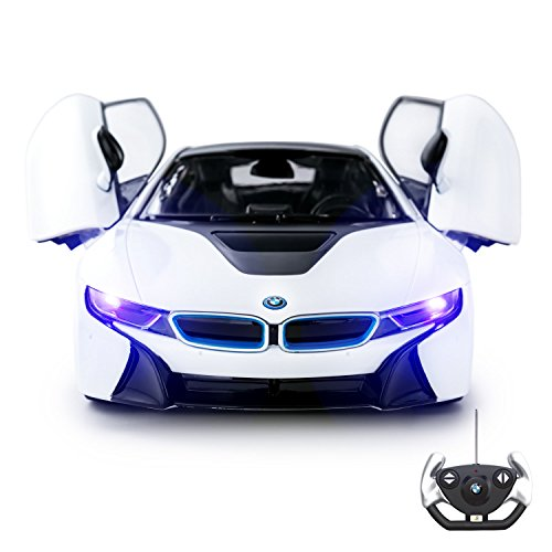 BMW i8 Remote Control Kids Car Toy - Opening Doors - Working Lights � PL9371 Official Licensed Electric 1:14 RC Model - White 27Mhz