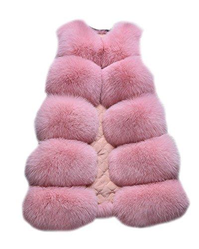 Damen Warm Jacke Weste Faux Pelz Lang Felljacke Oberteile Parka Outerwear Pink L