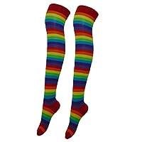 Girls Ladies Womens Rainbow Striped Long Over The Knee Socks Stripes Sizes 9-6.5