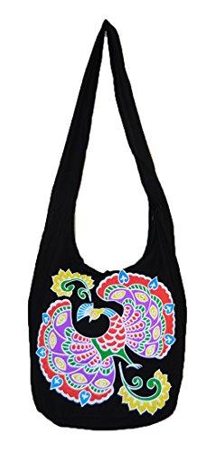 Pada Craft Shop Thailändische Hippie Hobo Schultertasche Handarbeit Reißverschluss Pfauenmuster Baumwolle Gypsy BohoMessenger Groß