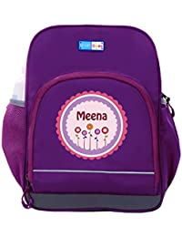 UniQBees Personalised School Bag With Name (Little Life Pre-School Backpack-Purple-Pink Flowers)