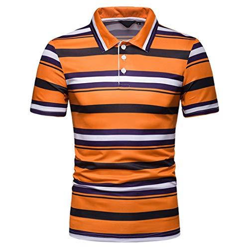 Luckycat Premium Herren Pique Polo-Shirt Herren Streifen Poloshirt Kurzarm Patchwork Sommer T-Shirt Men's Polo Shirt Baumwolle Herren Poloshirt Polohemd T-Shirt Shirt Mit Polokragen -