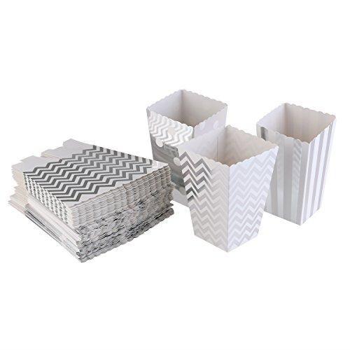 fenical Popcorn Boxen Candy Container Hochzeit Partyzubehör 50(Silber)