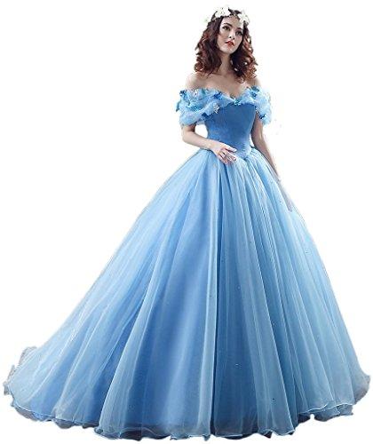 Promgirl House Damen 2017 Maerchenhaft Prinzessin A-Linie Ball Brautkleider Hochzeits Abendkleider Lang Blau