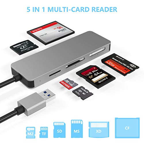 USB3.0 Kartenleser, Cateck 5-in-1 Aluminium Kartenleser, USB 3.0 Hochgeschwindigkeits TF / SD/ MS/ M2/ XD/ CF Speicherkarten Solt Combo Adapter, kompatibel mit Windows, Vista, Mac OS, Linux, Chrome OS