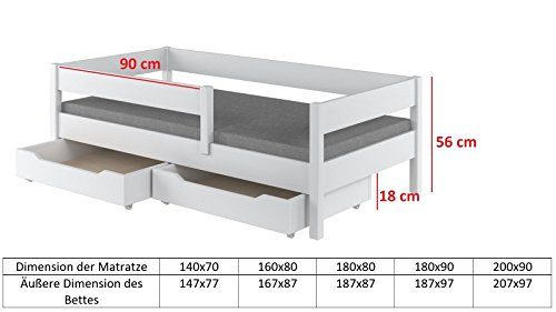Toddler Miki Kinder Einzelbett mit Schubladen, 4Farben, viele verschiedenen Größen -, holz, weiß, 200x90 - 3