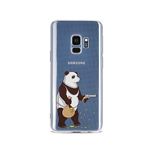 licaso S9 S9 Handyhülle TPU mit Panda klaut Honig Print Motiv - Transparent Cover Schutz Hülle Aufdruck Lustig Funny Druck