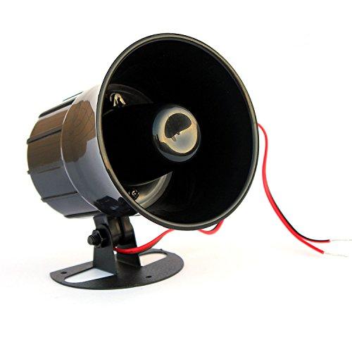 Taikuwu Alarme 15W 12V filaire corne haut-parleur sirène corne alarme de sécurité à la maison intérieure/extérieure ignifuge