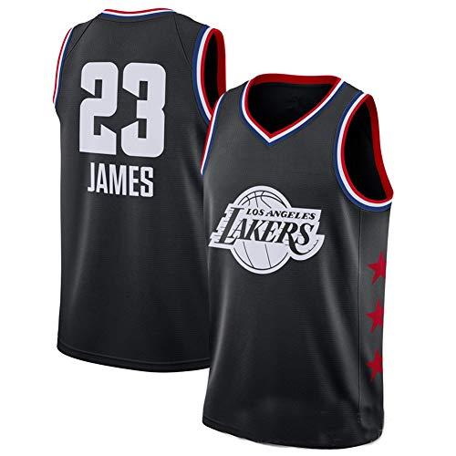 WYN Jersey Los Angeles Lakers NBA Kurzarm Shorts T-Shirt James Curry Basketball Stickerei Geeignet für Jungen Mädchen,NO.23BLACK,XL