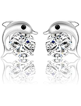 Wunhope Ohrringe Damen Mädchen 925er Sterling Silber mit AAA Zirkonia Nette Delphin Mode Klein Stecker
