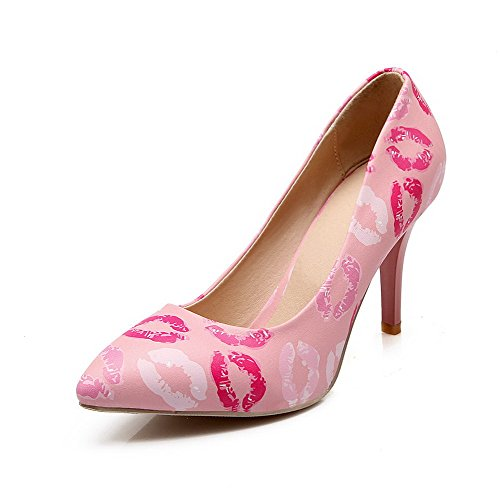 AllhqFashion Damen Spitz Zehe Weiches Material Gemischte Farbe Ziehen Auf Pumps Schuhe Pink