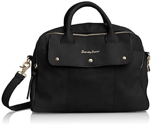 SwankySwansCarla Pu Leather Double Zip Smart - Borsa Tote donna Black (Black)