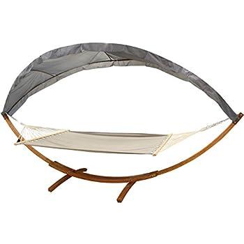 tectake 400 cm xxl h ngematte mit gestell holz dach gartenliege bis zu 2 personen. Black Bedroom Furniture Sets. Home Design Ideas