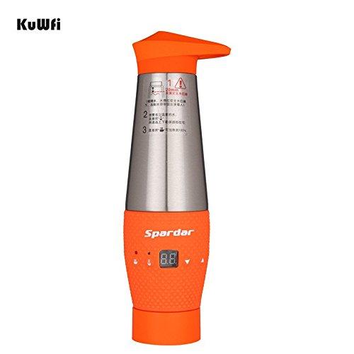 kuwfi Acqua bollita bottiglia da viaggio per auto accendisigari DC 12V Veicolo elettrico riscaldamento Tazza termica in acciaio inox regolabile Temperatura di ebollizione (Arancione)