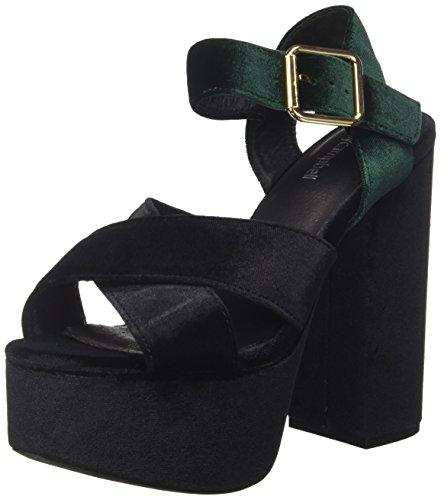Jeffrey Campbell 16f021 Velvet, Sandales Plateforme Femme Multicolore (Black/green)